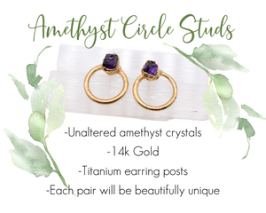 14k Gold Amethyst Circle Stud Earrings / February Birthstone / Ready to Ship