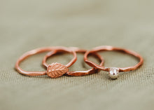 Load image into Gallery viewer, Stackable Leaf Ring / Copper, Silver, or Mixed Metal / Made to Order