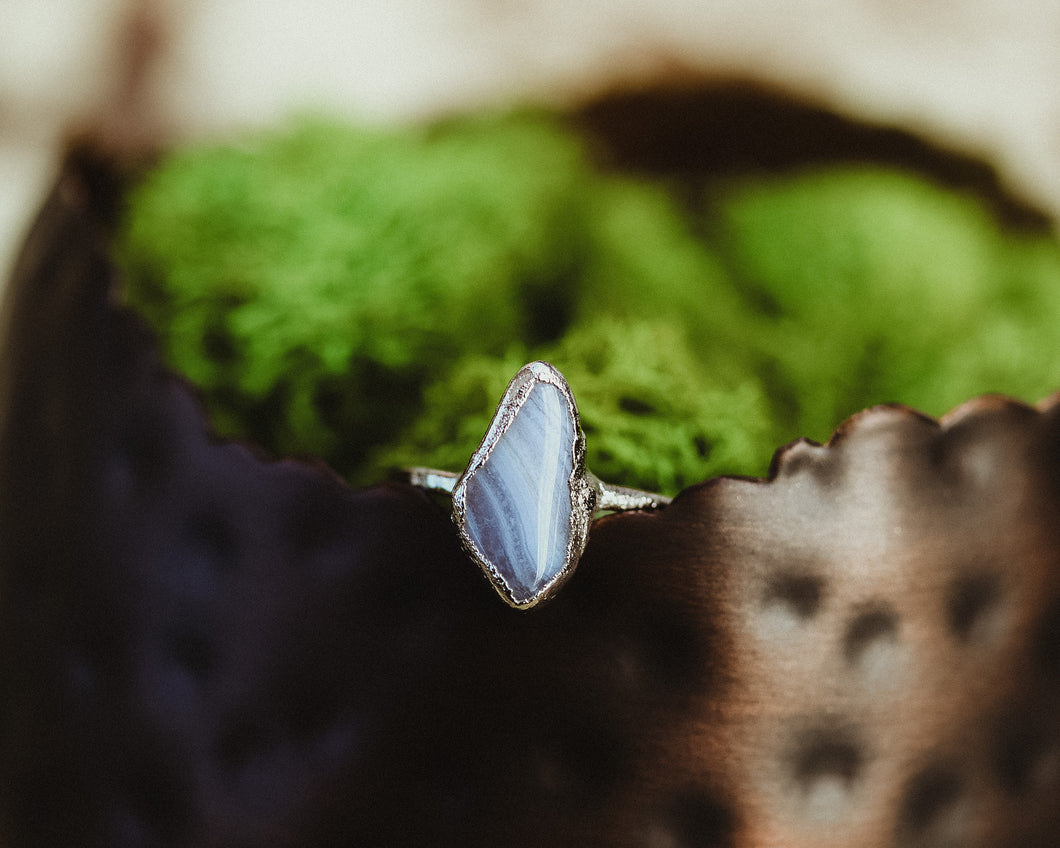 Silver Blue Lace Agate Ring / Ready to Ship