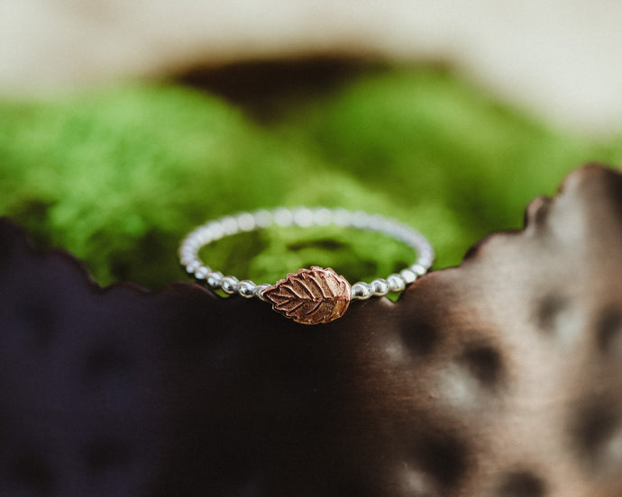 Stackable Beaded Leaf Ring / Copper & Silver / Made to Order