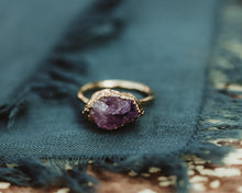 Load image into Gallery viewer, 14k Gold Amethyst Statement Ring / February Birthstone / Ready to Ship