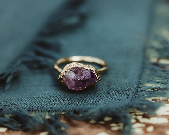 14k Gold Amethyst Statement Ring / February Birthstone / Ready to Ship
