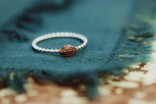 Load image into Gallery viewer, Stackable Beaded Leaf Ring / Copper & Silver / Made to Order