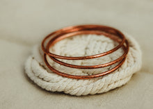 Load image into Gallery viewer, Hammered Bangle Bracelet / Solid Copper / Made to Order