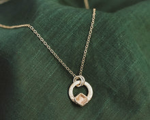 Load image into Gallery viewer, Solitare Rose Quartz Circle Necklace / Silver / Ready to Ship