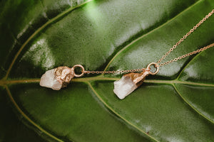 Rose Quartz Drop Necklace / Rose Gold / Ready to Ship