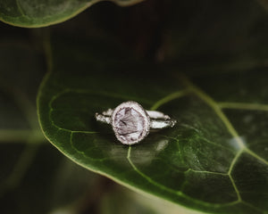 Silver Rutilated Quartz Ring / Ethically Sourced Rose Cut Gemstone / Ready to Ship