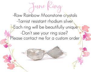 Silver Rainbow Moonstone Ring / June Birthstone / Ready to Ship