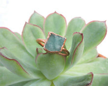Load image into Gallery viewer, Raw Gemstone Ring, Raw Stone Jewelry, Raw Gemstone Jewelry, Copper Gemstone Ring, Electroformed Ring, Amazonite Jewelry, Bohemian Gift Her