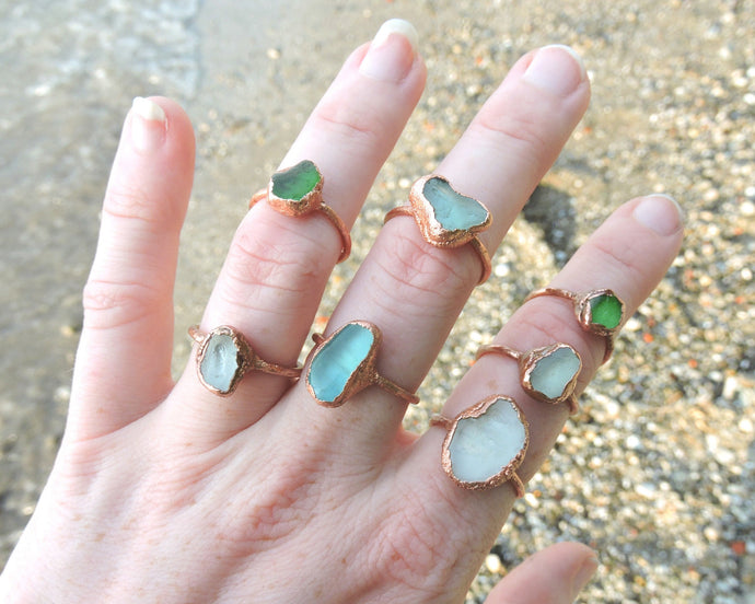 Seaglass Ring, Seaglass Art, Seaglass Jewelry, Beach Glass Ring, Electroformed Ring, Beach Gifts Women, Beach Glass Jewelry, Lake Erie