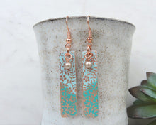 Load image into Gallery viewer, Teal Dangle Earrings, Teal Earrings, Teal Jewelry, Copper Dangle Earrings, Dangle Turquoise, Patina Jewelry, Boho Chic Jewelry
