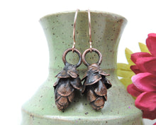 Load image into Gallery viewer, Nature Earrings, Nature Jewelry Women, Nature Inspired Jewelry, Autumn Earrings, Copper Earrings Fall, Pinecone Jewelry, Nature Lover Gift