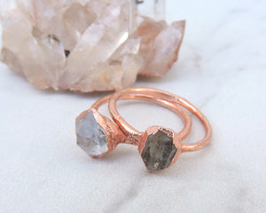 Quartz Ring, Clear Quartz Jewelry, Tibetan Quartz, Electroformed Ring, Raw Crystal Ring, April Birthstone, Birthstone Gifts Her