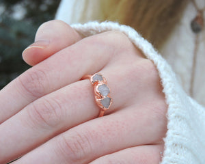 Promise Rings Her, Promise Rings Women, Promise Jewelry, Rose Quartz Rings, Copper Gifts Her, Bohemian Gift Her, Raw Gem Jewelry