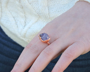 Amethyst Statement Ring, Raw Amethyst Jewelry, Amethyst Birthstone, Gemstone Statement Ring, Copper Statement Ring, February Birthday