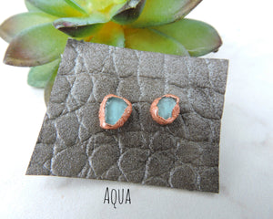 Sea Glass Earrings, Sea Glass Jewelry, Sea Glass Studs, Beach Glass Earrings, Copper Stud Earrings, Beach Lover Gift, Seaglass Jewelry