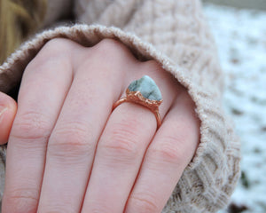 Emerald Statement Ring, Emerald Jewelry Women, Raw Emerald Jewelry, Gemstone Statement Ring, Copper Statement Ring, May Birthstone