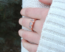 Load image into Gallery viewer, Promise Rings Her, Promise Rings Women, Promise Jewelry, Rose Quartz Rings, Copper Gifts Her, Bohemian Gift Her, Raw Gem Jewelry