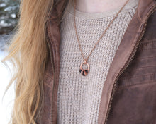 Load image into Gallery viewer, January Birthstone Necklace, January Birthstone Jewelry, January Birthday, Birthstone Gift Idea, Garnet Necklace, Copper Circle Necklace