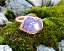 Load image into Gallery viewer, Amethyst Statement Ring, Raw Amethyst Jewelry, Amethyst Birthstone, Gemstone Statement Ring, Copper Statement Ring, February Birthday