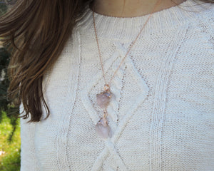 Pink Quartz Necklace, Pink Crystal Pendant, Light Pink Jewelry, Raw Quartz Jewelry, Rose Quartz Necklace, Rose Gold Necklace Women