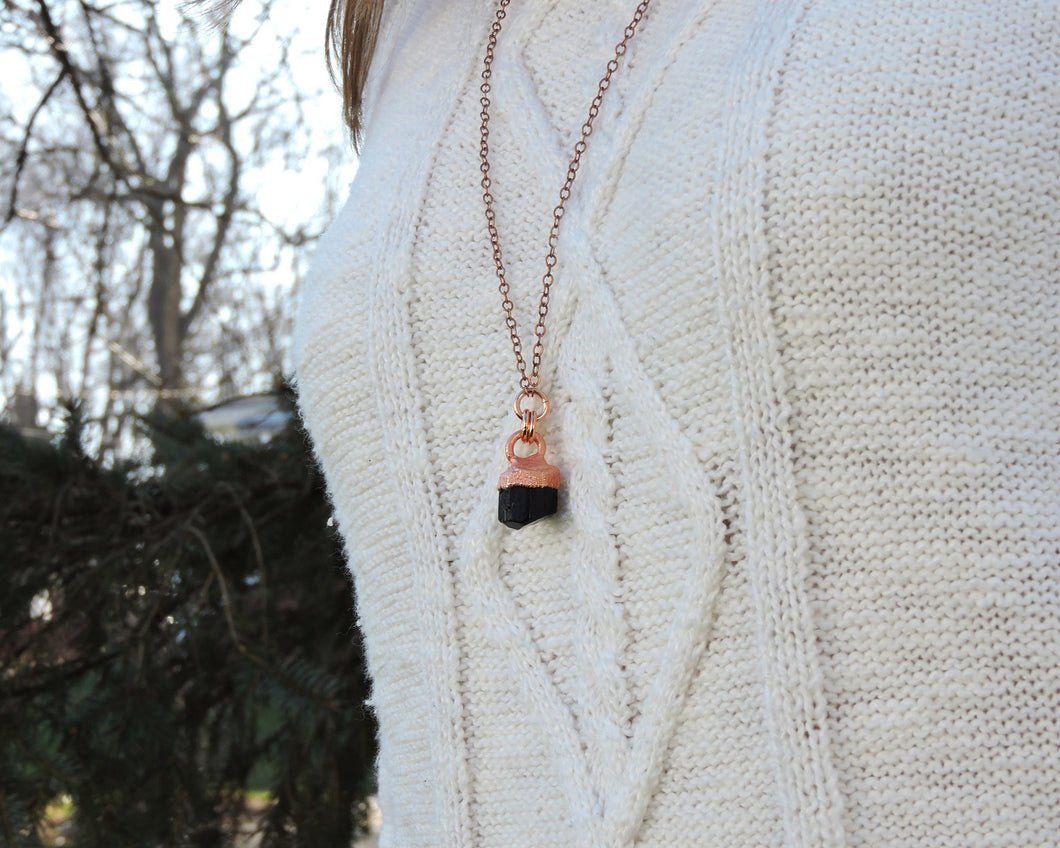 Black Tourmaline Necklace, Black Gemstone Pendant, Long Black Necklace, Tourmaline Pendant, Raw Tourmaline Jewelry, Long Copper Necklace