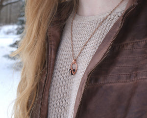 January Birthstone Necklace, January Birthstone Jewelry, January Birthday, Birthstone Gift Idea, Garnet Necklace, Copper Circle Necklace