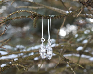 Quartz Dangle Earrings, Raw Quartz Jewelry, Clear Quartz Jewelry, Clear Dangle Earrings, Gem Dangle Earrings, Raw Silver Jewelry