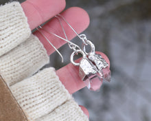 Load image into Gallery viewer, Quartz Dangle Earrings, Raw Quartz Jewelry, Clear Quartz Jewelry, Clear Dangle Earrings, Gem Dangle Earrings, Raw Silver Jewelry