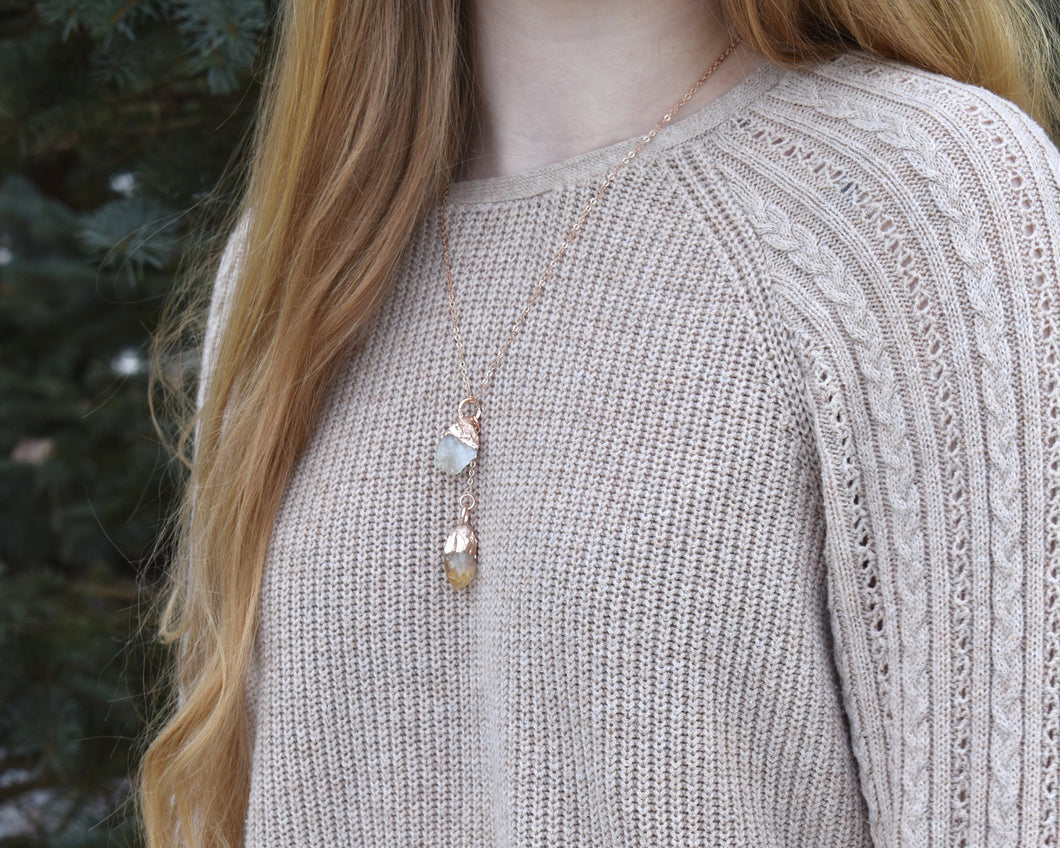Citrine Necklace, Raw Citrine Jewelry, Yellow Citrine Pendant, Crystal Drop Necklace, Rose Gold Necklace Women, Elegant Gift Her