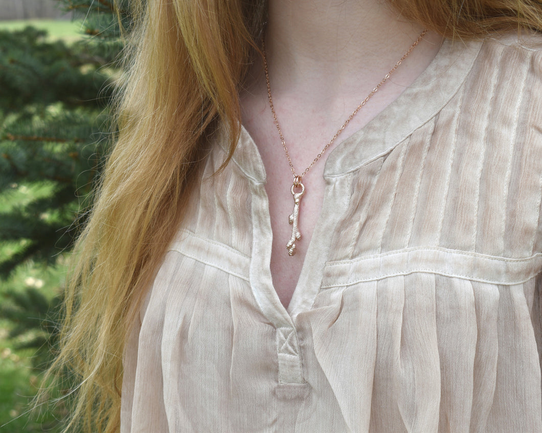 Forest Jewelry, Forest Necklace, Forest Gift, Organic Jewelry, Twig Jewelry, Woodland Necklace, Rose Gold Plated, Nature Lover Gift