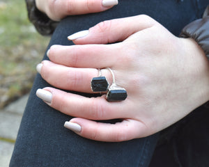 Black Gem Ring, Black Tourmaline Jewelry, Black Tourmaline, Raw Gem Jewelry, Raw Gem Ring, Organic Silver Ring, Raw Crystal Ring