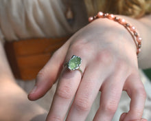 Load image into Gallery viewer, Peridot Ring, Peridot Jewelry Women, Peridot Jewelry, August Birthstone Ring, Organic Silver Ring, Raw Silver Jewelry, Birthstone Gifts Her