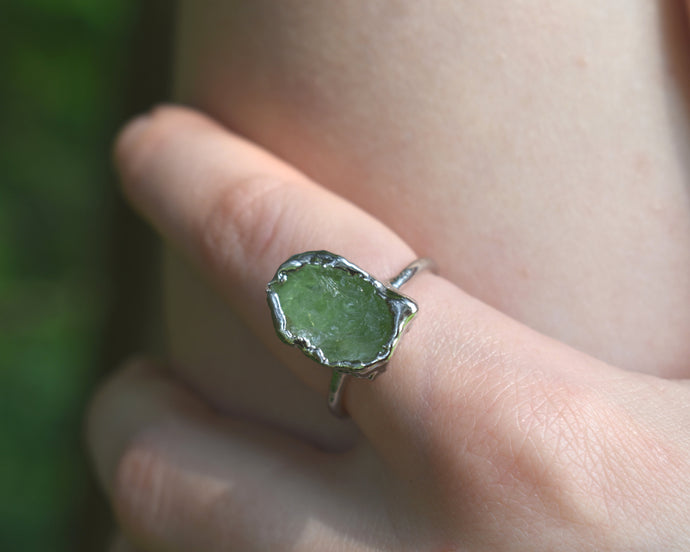 Peridot Ring, Peridot Jewelry Women, Peridot Jewelry, August Birthstone Ring, Organic Silver Ring, Raw Silver Jewelry, Birthstone Gifts Her