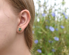 Load image into Gallery viewer, Emerald Studs, Emerald Jewelry Natural, Emerald Earrings Gold, 14k Gold Studs, Crystal Studs, May Birthstone, Birthstone Gifts Her