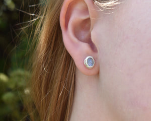 Moonstone Stud Earrings, Rainbow Moonstone Jewelry, Moonstone Birthstone, Cabochon Studs, Crystal Studs, Organic Silver Earrings