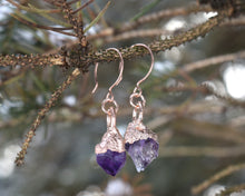 Load image into Gallery viewer, Raw Amethyst Jewelry, Raw Gem Jewelry, Raw Crystal Earrings, Amethyst Jewelry Women, Amethyst Earrings, February Birthstone