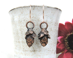 Nature Earrings, Nature Jewelry Women, Nature Inspired Jewelry, Autumn Earrings, Copper Earrings Fall, Pinecone Jewelry, Nature Lover Gift