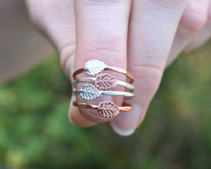 Forest Ring, Forest Jewelry, Forest Gift, Two Tone Ring, Leaf Rings Women, Minimalist Stackable Ring, Nature Lover Gift, Present Her