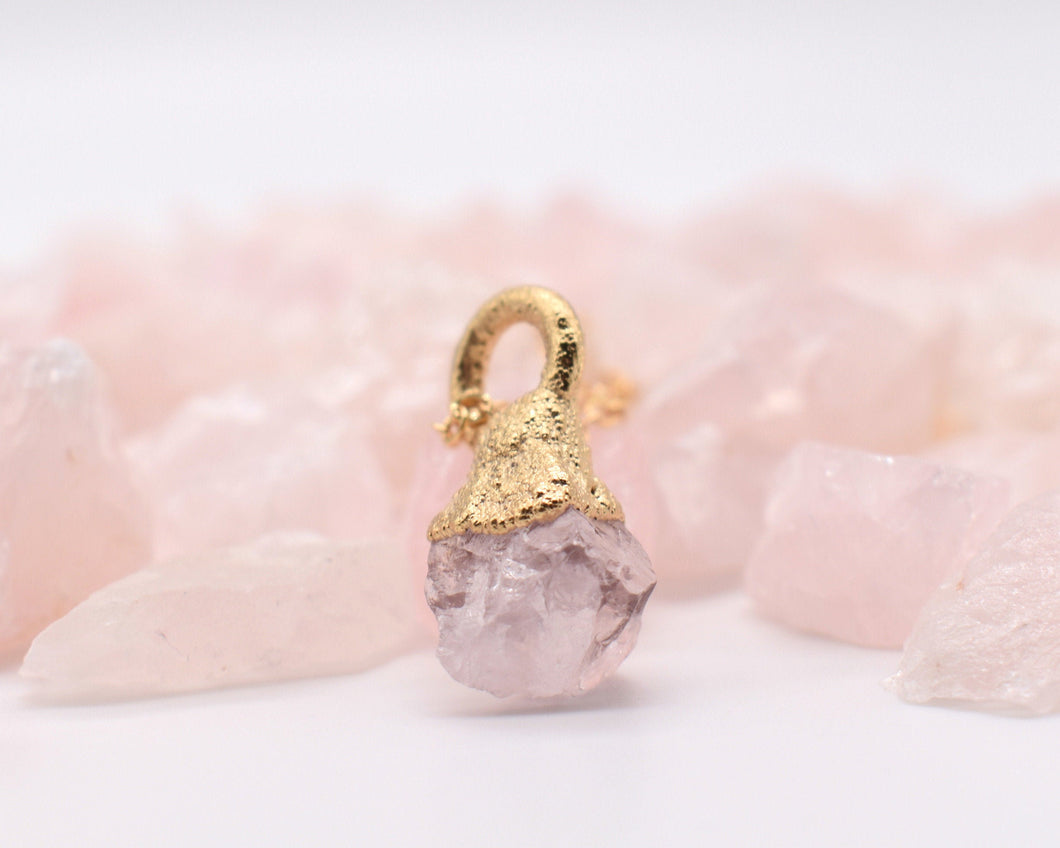 Gold Quartz Necklace, Organic Gold Jewelry, Raw Gold Jewelry, Rose Quartz Necklace, Pink Quartz Necklace, Romantic Gifts Her, Electroformed