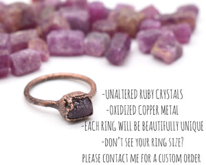 Ruby Ring Women, Ruby Jewelry, Ruby Birthstone, July Ring, Crystal Ring Women, Copper Ring Women, Electroformed Copper, Birthstone Gifts Her