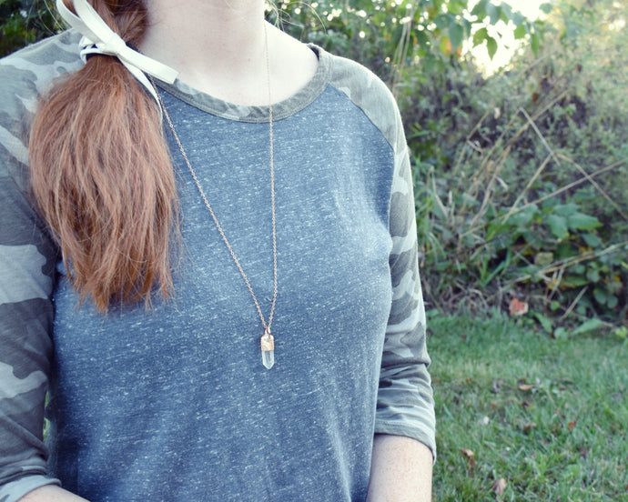 Gemstone Drop Necklace, Crystal Drop Necklace, Long Drop Necklace, Raw Gemstone Necklace, Rose Gold Gemstone, Simple Crystal Necklace