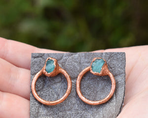 Post Dangle Earrings, Circle Post Earring, Copper Post Earrings, Small Dangles, Copper Dangles, Circle Stud Earrings,  Electroformed