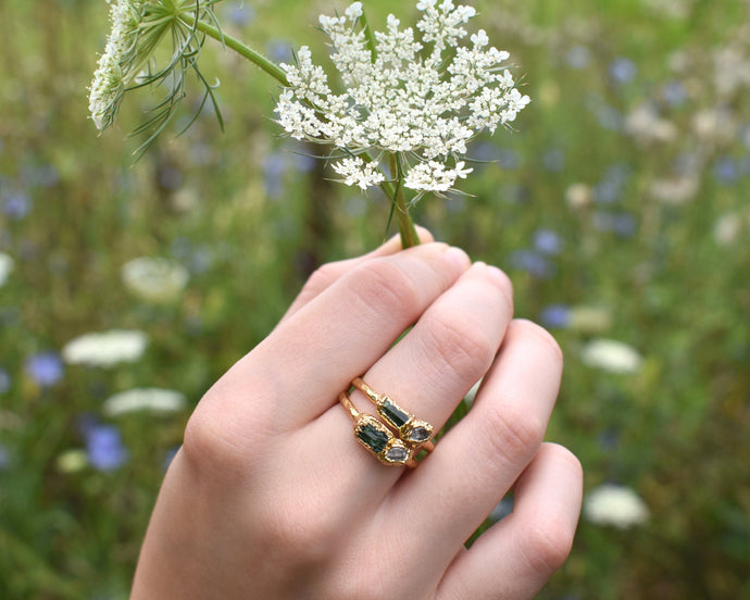 Multi Stone Ring, Multi Gem Ring, Multi Gemstone Ring, Dainty Stone Ring, Real Stone Jewelry, Raw Gold Jewelry, October Birthstone