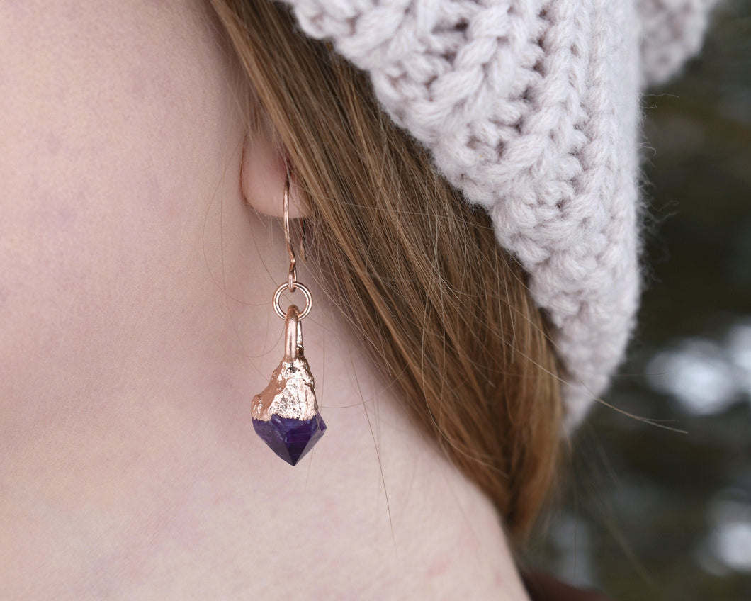 Raw Amethyst Jewelry, Raw Gem Jewelry, Raw Crystal Earrings, Amethyst Jewelry Women, Amethyst Earrings, February Birthstone