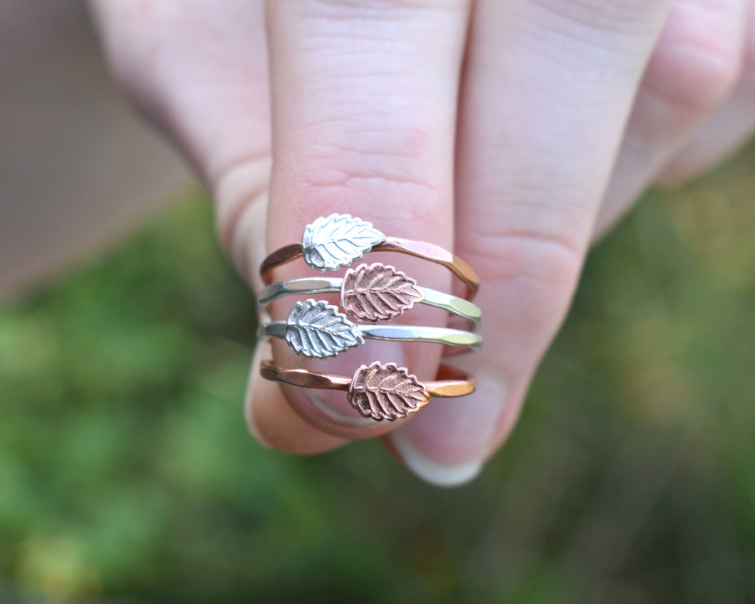 Leaf Ring Silver, Leaf Rings Women, Silver Leaf Jewelry, Hammered Silver Band, Dainty Stackable Ring, Nature Lover Gift, Present Her
