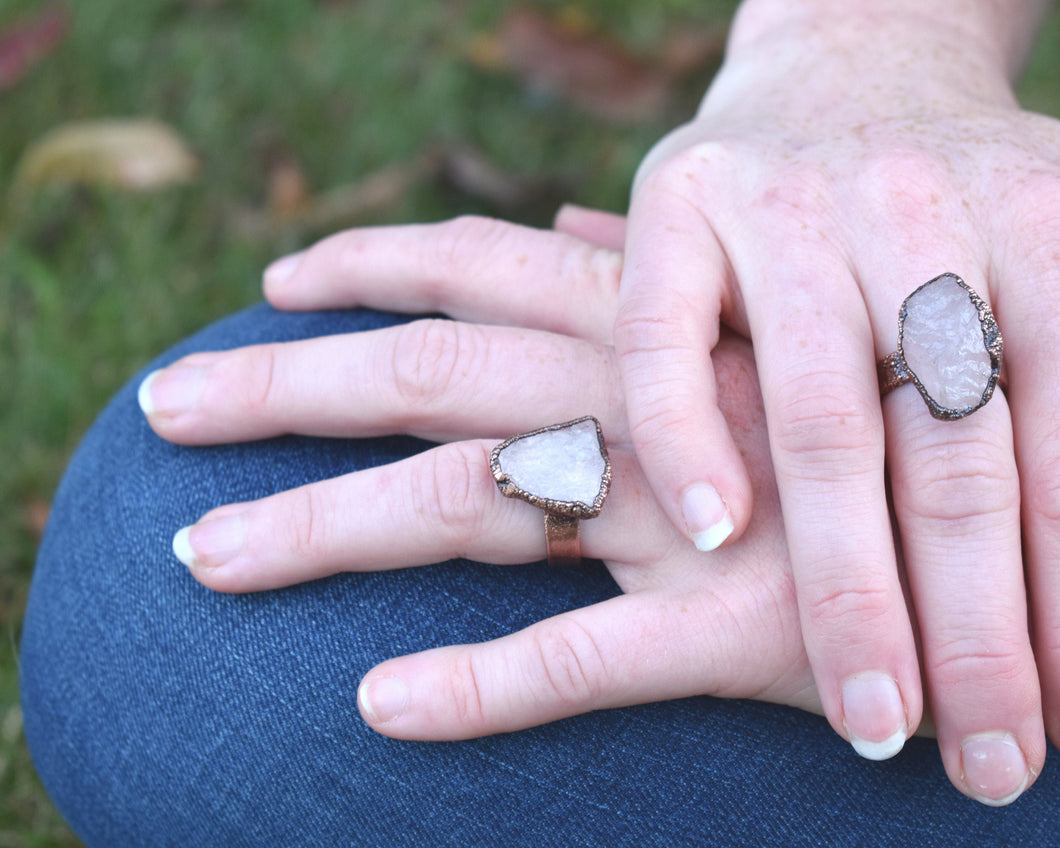 Rose Quartz Ring, Rose Quartz Crystal, Rose Quartz Gift, Copper Quartz Rings,  Crystal Statement Ring, Cocktail Ring, Antique Copper Jewelry