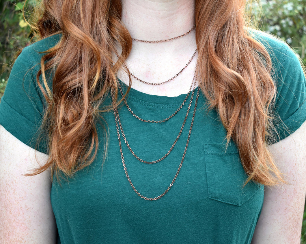 Layered Necklace Choker, Layered Necklace Women, Layered Necklace Dainty, Multi Strand Choker, Copper Choker, 5 Strand Necklace