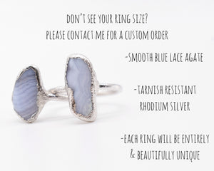 Blue Agate Ring, Blue Lace Agate, Blue Lace Agate Jewelry, Organic Silver Ring, Electroformed Ring, Bohemian Gift Her, Light Blue Ring