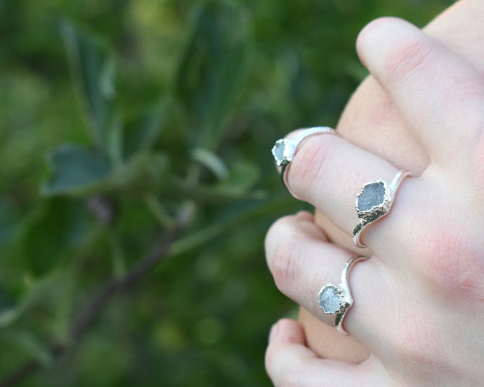 Aquamarine Ring, Raw Aquamarine Jewelry, Silver Aquamarine Ring, Organic Silver Ring, Raw Birthstone Jewelry, March Birthstone